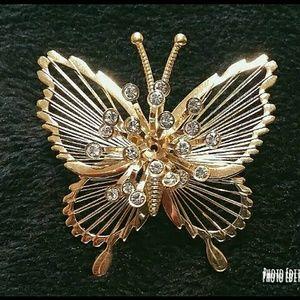 Vintage harp butterfly brooch